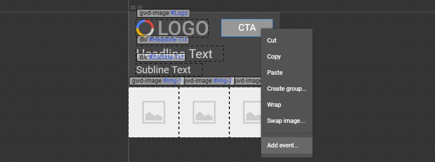 Uma introdução ao Google Web Designer - add event - Uma introdução ao Google Web Designer