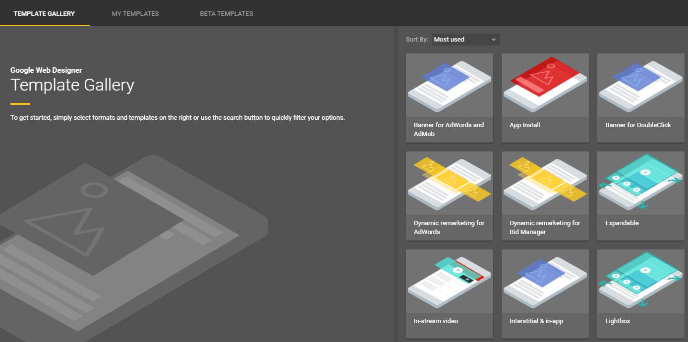Uma introdução ao Google Web Designer - template gallery - Uma introdução ao Google Web Designer